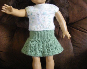 Knitted AG Doll Top and Skirt