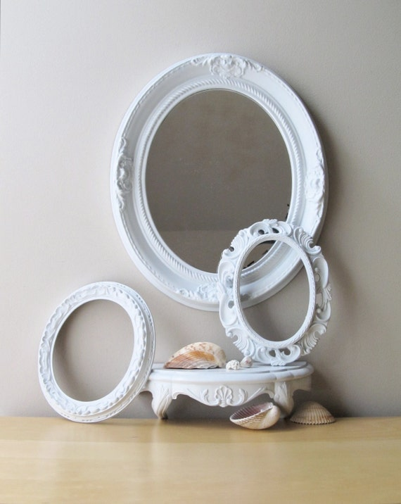 gloss white oval frame, vintage oval mirror, wall shelf, instant collection, french country picture frames
