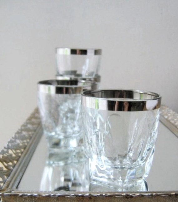 on the rocks, vintage barware, highball glasses, silver rims, set of eight