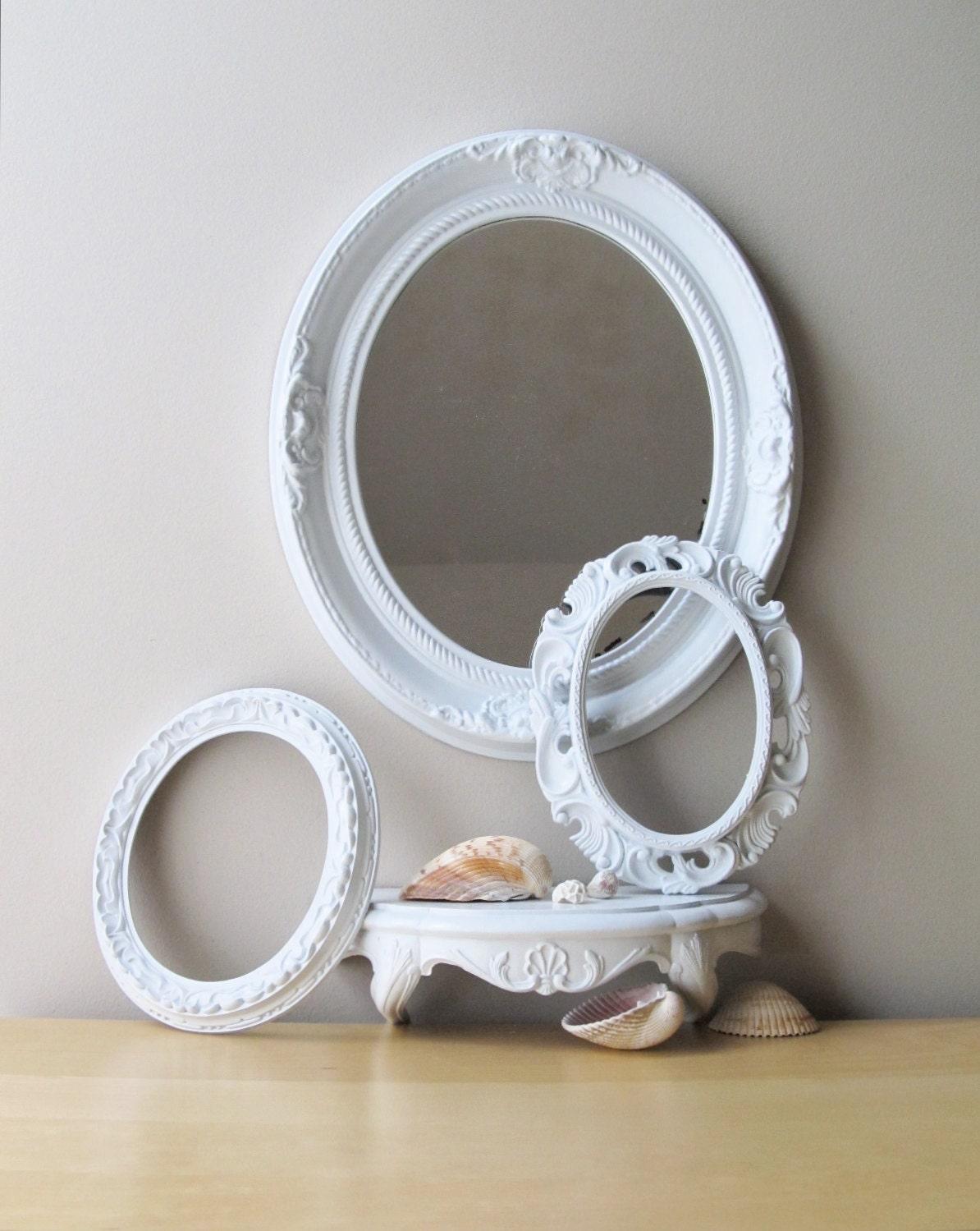 Gloss White Oval Frame Vintage Oval Mirror Wall Shelf