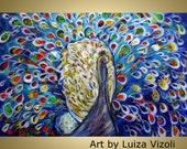 Original Modern Textured Palette Impasto Whimsical  Bird Oil Art PEACOCK PRIDE by Luiza Vizoli large painting