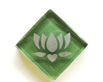 Lotus Magnet Silver Etched Green Glass Mosaic Tile The Lotus-Butterfly Project