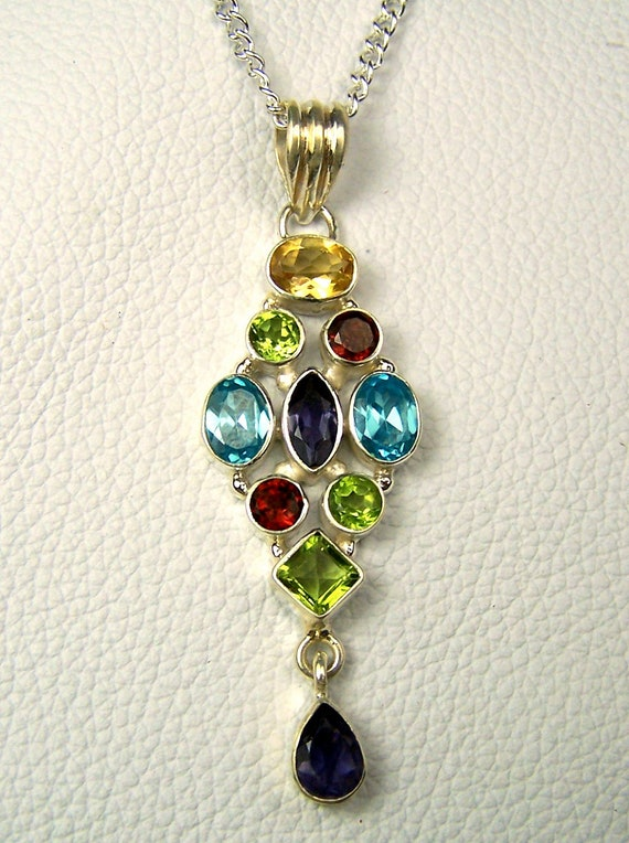Blue Topaz, Iolite, Peridot,  Citrine, Garnet Sterling Silver Necklace pendant  with chain - Multi Gemstone necklae