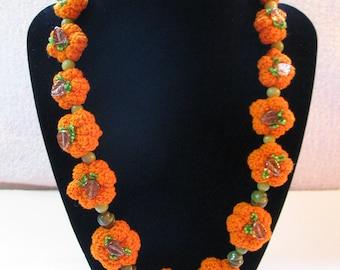 Handmade Beaded Pumpkin Patch Necklace, Hand Crocheted Pumpkins with Glass Beads, Fall Harvest Halloween Pumpkin Jewelry, Chunky Necklace