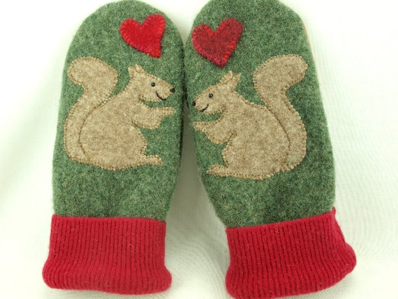 Felted Wool Mittens Recycled Sweater in Green and Red Squirrel Applique Leather Palm Fleece Lining Up Cycled Eco Friendly Size S/M
