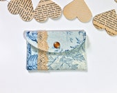 Fabric credit card wallet - Necklace holder - Blue with vintage lace