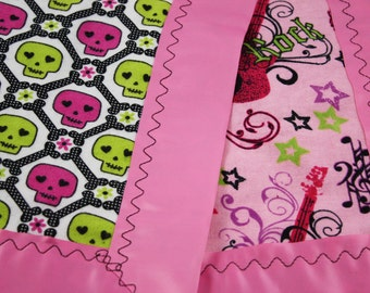 Handmade Rock and Roll Skull Flannel Baby Blanket