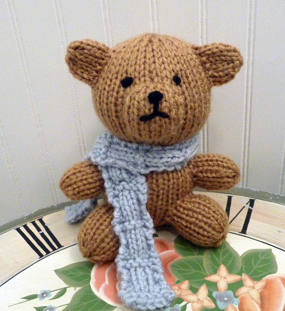 Knitting Pattern For Teddy Bear Scarf : Hand Knitted Stuffed Brown Teddy Bear wearing a Blue Scarf