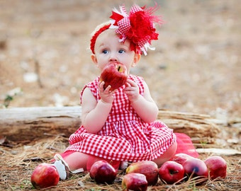 Red and White Gingham Check Picnic Over The Top  Bow on matching Headband Free Shipping On All Addional Items