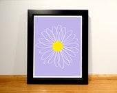 Daisy Floral Print - 8x10 Purple and Yellow Digital Print