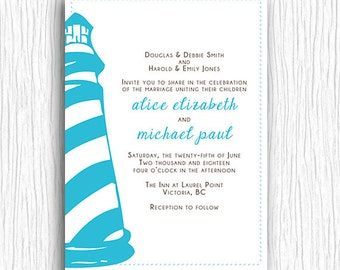 Wedding Invitation - Blue and Brown Lighthouse - Customized Printable