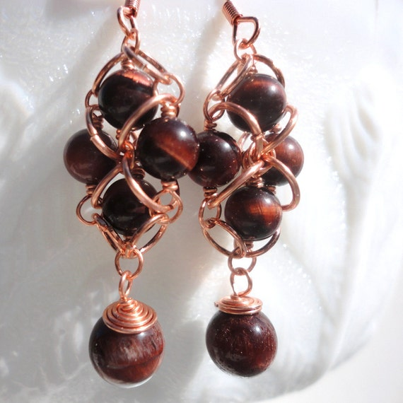 Red Tiger's Eye Earrings: Quatrefoil Earrings with Red Tiger Eye Beads on Copper