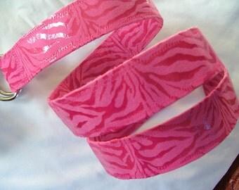 D Ring Belt, pink snake skin,  S/M
