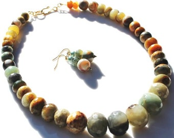 SALE -- Earthy Jade and India Agate Semi precious stone handmade necklace with earrings