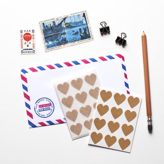 120 Brown Kraft Heart Stickers (envelope seals)