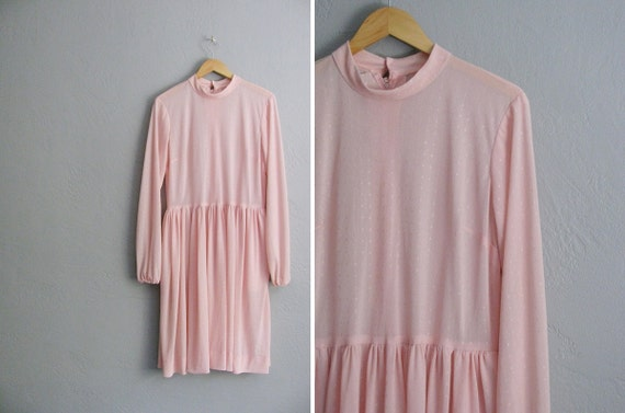 vintage '70s baby pink long sleeve SQUARE DOT MIDI dress. size xl.