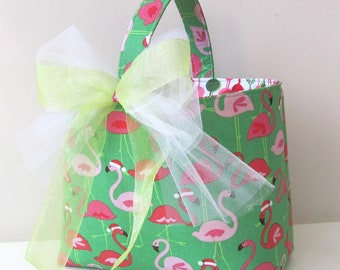 Christmas Basket in PInk Flamingo Print