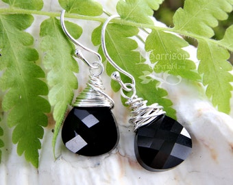 Sterling silver wire wrapped jet black Swarovski crystal briolette earrings - dramatic sparkly crystals - free shipping USA