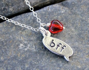 BFF chat text charm & red glass heart sterling silver necklace - sweet gift for your best friend - free shipping in USA