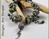 Wire Wrapped Bracelet, Handmade Bracelet, Lampwork Bead Bracelet, OOAK Bracelet, Sterling Bracelet