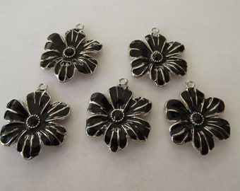 Large Black Enamel Rhinestone Flowers- five charms- silver charms