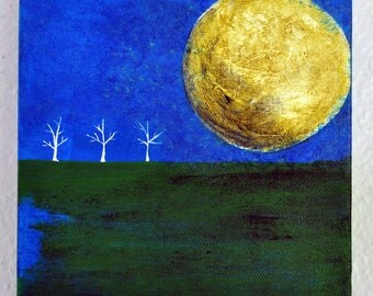 Small Canvas Original Painting 6in x 6in - by Nicole Dietz - Big Moon on Blue - White Series