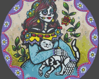 Day of the Dead, Cross Stitch Kit, Illustrated Ink Amigas Para Siempre, Cat Skeleton, Skeleton Cross Stitch, Tattoo Art, Modern Cross Stitch