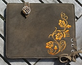 iPad Deerskin Sleeve - PUMPKIN LEAF (Organic Leather)