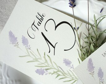 Lavender Table Number Cards