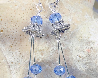 Sapphire blue crystal earrings with silver bells for the holiday season