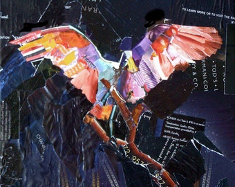Cleared for Takeoff, 10x10 Original Collage Daily Painting on Gallery Wrap Canvas