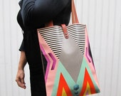 Leather Tote Bag / Laptop bag - Tribal Geometric