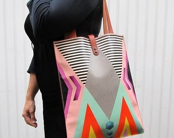Leather Tote Bag / Laptop bag - Tribal Geometric
