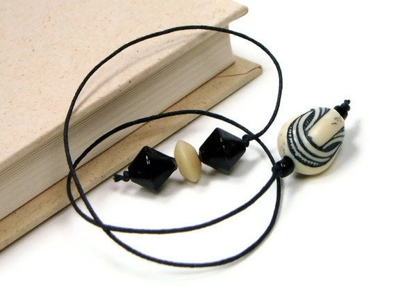 RESERVED Book Thong, Beaded Bookmark, Book Cord, Book String, Gift Black, Cream, Ivory, Ecru, TJBdesigns