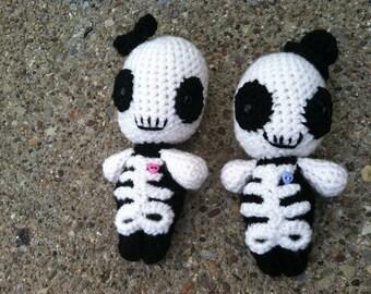 cute dead skeleton boy and girl amigurumi couple halloween day of the dead