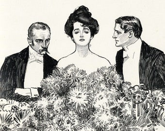 Gibson Girl - Center of Attention - Humorous 1907 Antique Charles Dana Gibson Print