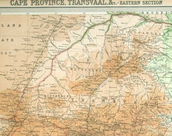 1922 Antique Map of the Cape Province, Transvaal, South Africa (Eastern Part) - Insets of Port Elizabeth and Durban