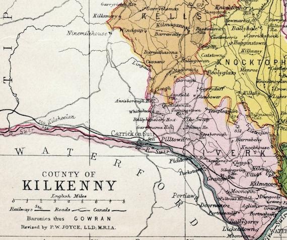 1905 Antique Map of County Kilkenny, Ireland