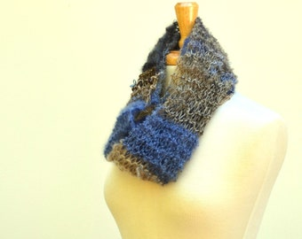 Knit Infinity Scarf...Long Eternity Scarf...Lightweight Cowl..Blue Gray Multicolor