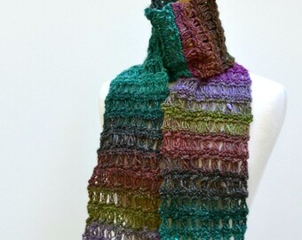 Knit Lace Scarf...Multicolor Noro Silk..Lavender Green Gray
