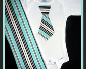 Baby Boy Clothes Onesie Bodysuit LONG SLEEVE With Tie and Burp Cloth - Sophisticated Stripes