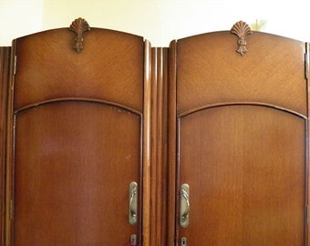 REDUCED Antique English Armoire - 1930's - 1940's era - Art Deco - Art Nouveau Style