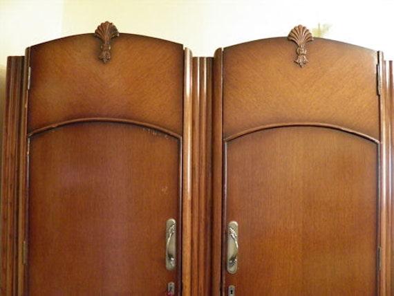 REDUCED Antique English Armoire - 1930's - 1940's era - Art Deco - Art Nouveau Style
