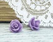 Purple Rose Earrings Rosebud Earrings Rose Stud Earrings Hypoallergenic Surgical Steel Stud