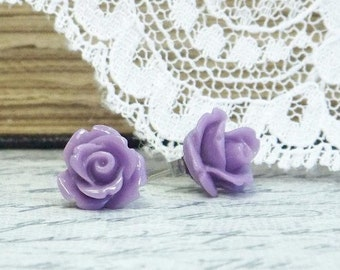 Purple Rose Earrings Rosebud Earrings Rose Stud Earrings Hypoallergenic Surgical Steel Stud