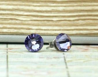 Purple Stud Earrings Purple Crystal Studs Crystal Stud Earrings Hypoallergenic Purple Crystal Earrings