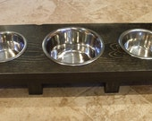 1 Quart and 1 Pint 4 Inch Triple - SoHo Style - Ergonomically Designed Pet Feeder - Stained the Color of Your Choice