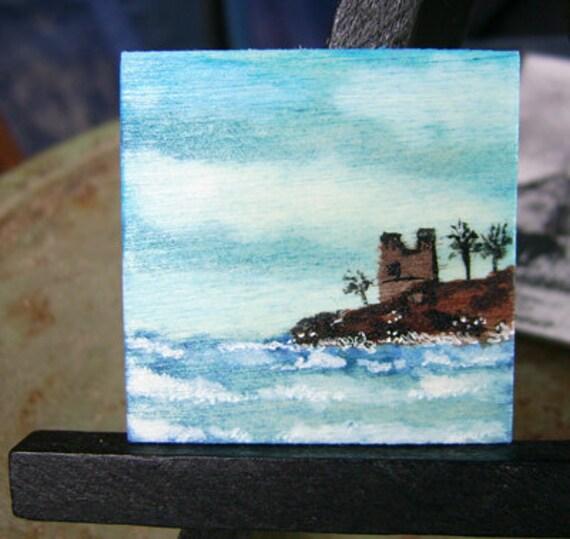 OOAK Tiny Miniature Doll House Art Seascape on Wood 1.5 inch x 1.5 inch