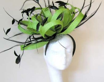 Ostrich Large Lime Green Fascinator Hat for Kentucky Derby & Ascot With Headband (40 Colours)