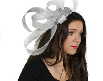 Kate - Metallic Silver Fascinator Kentucky Derby or Wedding Hat With Headband (in 40 colours)